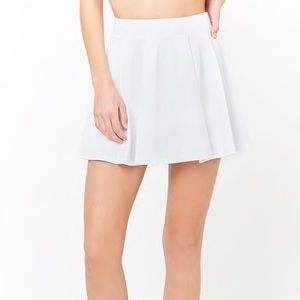 forever 21 white box pleated mini skirt